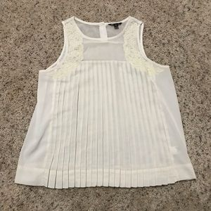 American Eagle White Pleated Sheer Blouse
